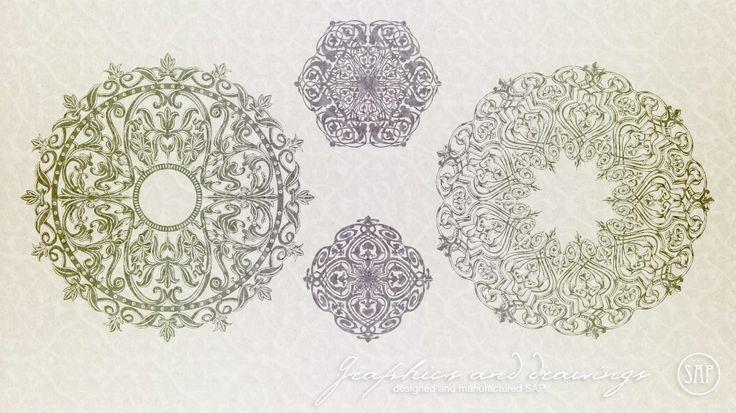 Векторная графика: нарисованные векторные элементы и узоры.  #Векторная_графика #Дизайн_студия_Москва #Дизайн #Орнаменты #Графическое_искусство