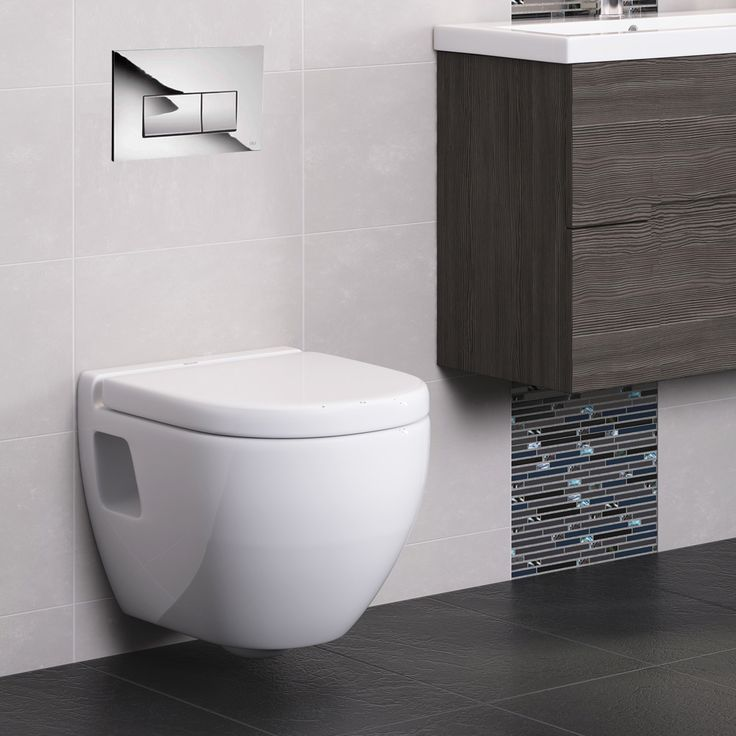 Compact Dual Flush Concealed WC Cistern with Wall Hung Frame & Modern Toilet Standard Large Image