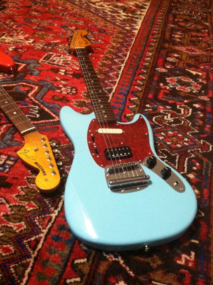 Sonic Blue Kurt Cobain Fender Mustang Guitar. Nirvana.