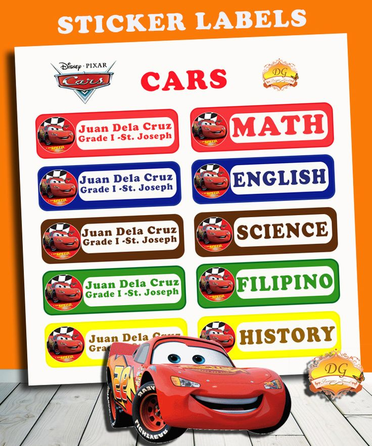 CARS STICKER LABELS :) BACK TO SCHOOL!! :)   Organize your child's school supplies such as books and notebooks with stickers! Put your child's name and school/ class section. Customize ANY CHARACTER and ANY COLOR! <3     Send us a message on facebook DG Precious Touch for your inquiries :)