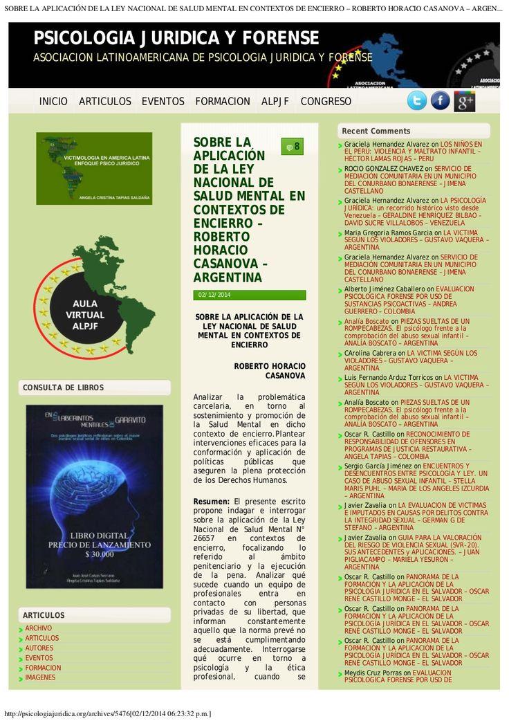 SOBRE LA APLICACIÓN DE LA LEY NACIONAL DE SALUD MENTAL EN CONTEXTOS DE ENCIERRO by Web Master Bicentenario via slideshare