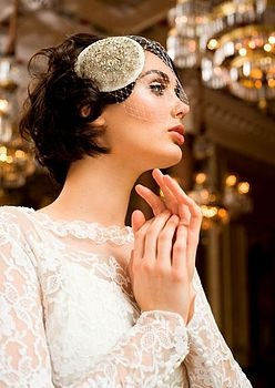 Diamond Dove Embellished Headdress With Veil - a twist on a birdcage veil