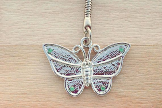 Butterfly Keychain - Silver Butterfly Key Chain - Animal Keyring - Handbag Charm - Cute Keychain
