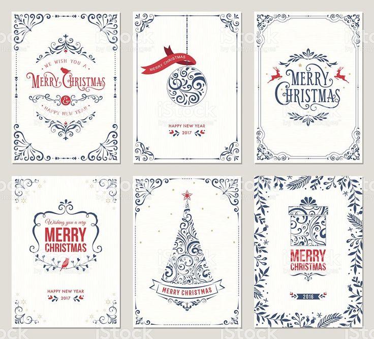 Ornate Christmas Greeting Cards ロイヤリティフリーのイラスト素材