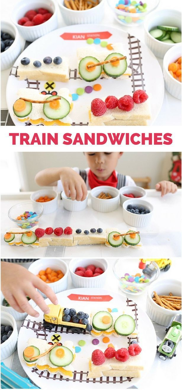 How to make train sandwiches with kids plus a fun video to show how! A great way to get kids cooking in the kitchen and making their own lunch or food.