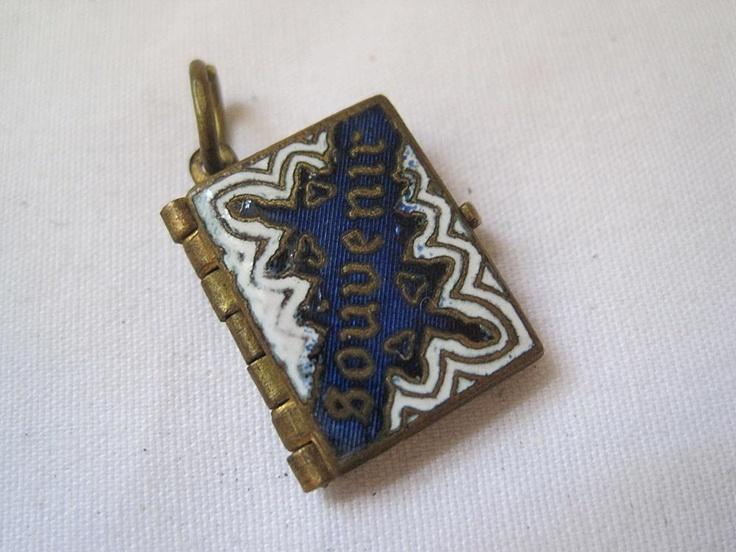 Vintage Enamel Book Locket - Antique Australian Souvenir