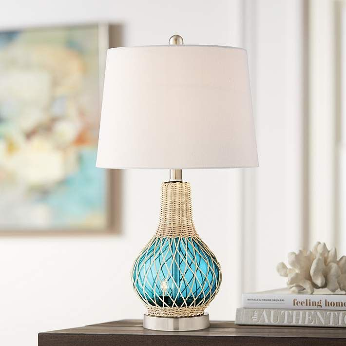 Alana Blue Glass Accent Table Lamp With Night Light 64g25 Lamps Plus In 2020 Glass Accent Tables Bedside Night Stands Coastal Accent Table