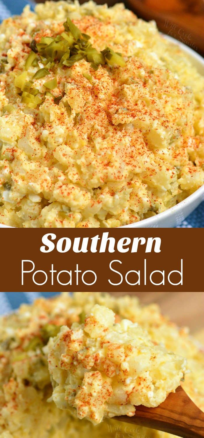 Southern Potato Salad. Delicious combination of potatoes, hard boiled eggs, onio…