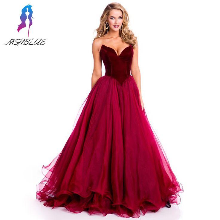 >> Click to Buy << Fashion Design 2017 Burgundy Velour Long Prom Dresses Sweetheart Organza V Back Zipper Women Evening Dress #Affiliate