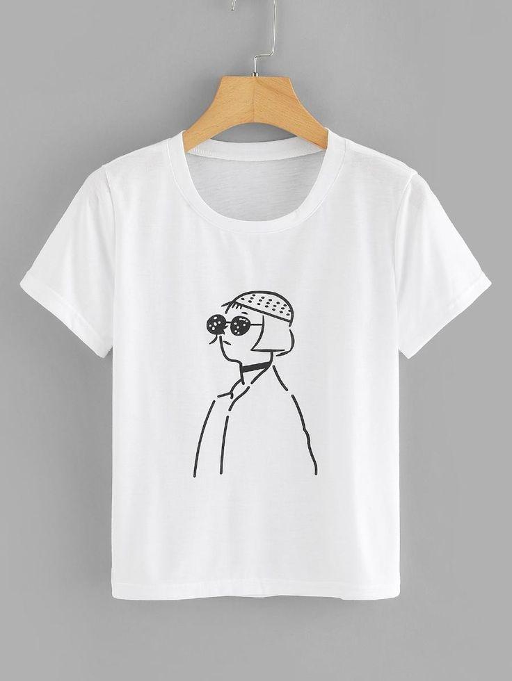 Figure print tee sheinsheinside shirt print design