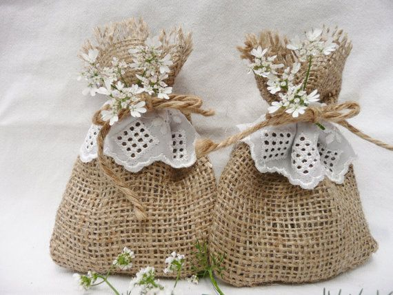 10 X Burlap Hessian White Lace Wedding Favour Bags By Raggedhome