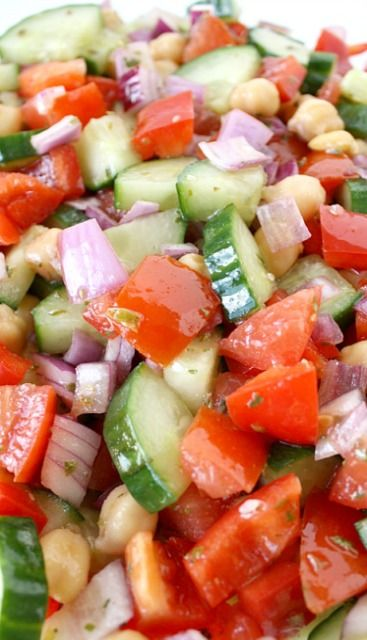 Ultimate Greek Chopped Salad - going to replace beans with feta or fresh mozzarella cheese.