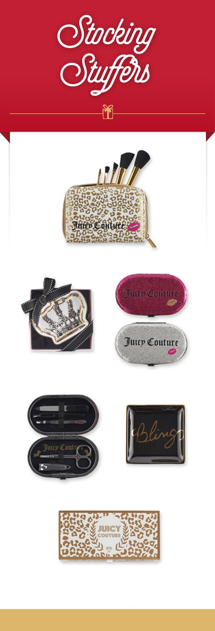 Glam up the holidays with glitzy stocking stuffers from Juicy Couture. Top to bottom: leopard-print makeup bag, crown trinket tray, manicure sets, bling trinket tray and glass jewelry box. Find these glam gifts and more at Kohl's.