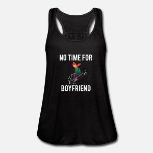 No time for my boyfriend, winter, fun, gift, Women's Flowy Tank Top by Bella – black