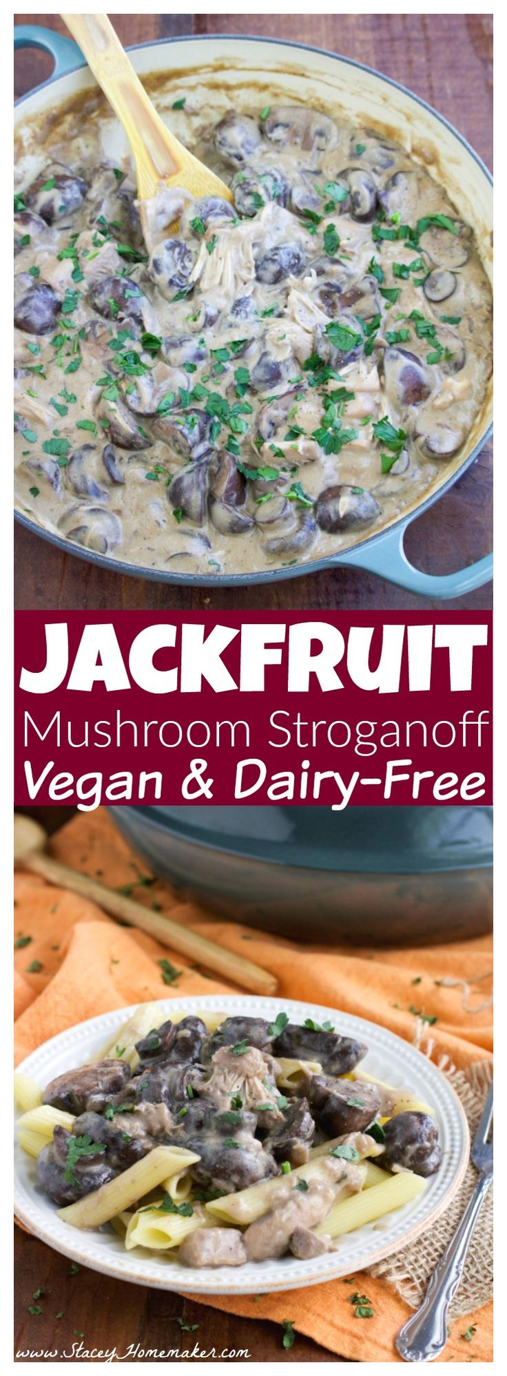 Vegan jackfruit mushroom stroganoff has the creamiest sauce that coats every bite of this mushroom-loaded dish! The shredded jackfruit takes the place of beef chunks and it's oh-so-satisfying. My husband loves it so much that he requested it twice in one week! Vegan, & dairy-free.
