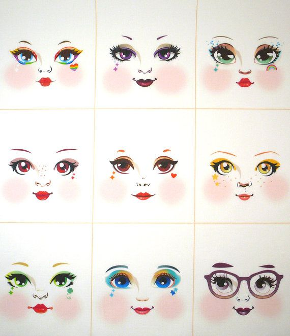 Rainbow girls cloth doll faces ready to sew fabric by DollProject