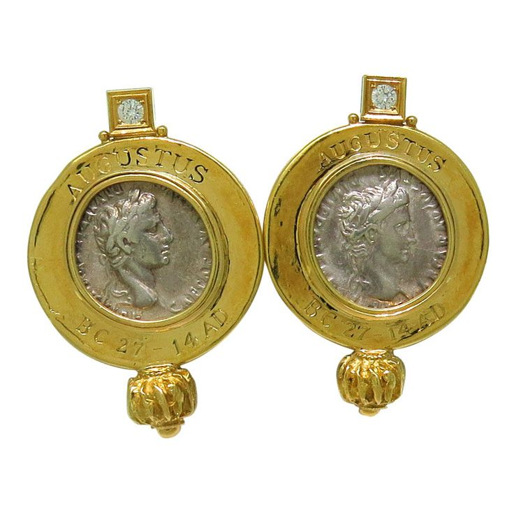 Elizabeth Gage Ancient Coin Diamond Gold Earrings | From a unique collection of vintage more earrings at http://www.1stdibs.com/jewelry/earrings/more-earrings/