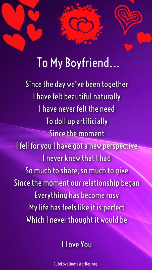 Sweet romantic poems for boyfriend