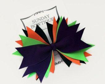 Tacon de Halloween arco del pelo, arco del pelo, arco del pelo de bruja, púrpura neón negro naranja verde, disfraz de Halloween, Halloween arco, arco del pelo grande