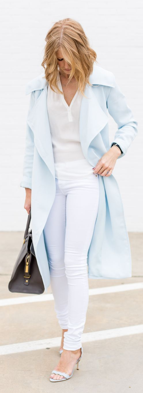 Powder Blue Trench Outfit Idea by A Piece Of Toast