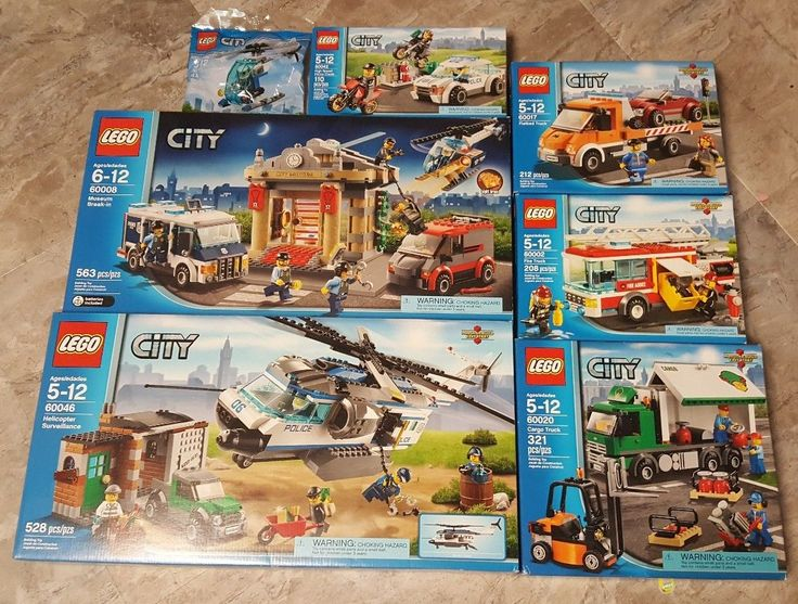 Lego City Police Helicopter Surveillance Museum Break In Cargo Fire Truck NEW