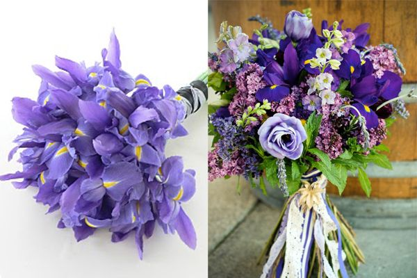 Purple-Iris-Bouquets, simple, beautiful and in season in august! the one on the left has Ranunculus as well