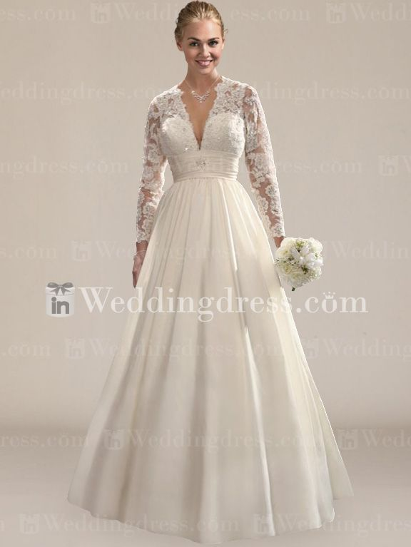 Royal Taffeta Lace Wedding Dress With Long Sleeves DE389N