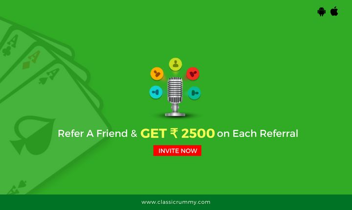 Refer a friend and get Rs.2500/- bonus for free. Start inviting and play rummy game online.  #rummy #mobile #ios #card #games