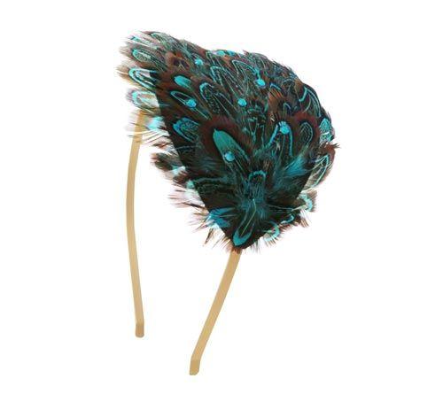 Til denne hårbøjle med blå fasan er der brugt følgende materialer:  1 stk. blå fasan fjer på filt 1 stk. hårbøjle, mat forgyldt 7 stk. swarovski krystaller, turkis facet + lim