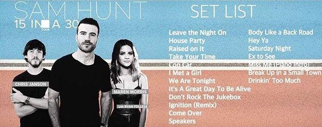 Sam Hunt 15 in a 30 tour setlist