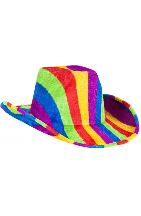 Sombrero Vaquero para Disfraz de Cowboy Multicolor Estampado Arco Iris Rainbow - Tienda Esfantastica