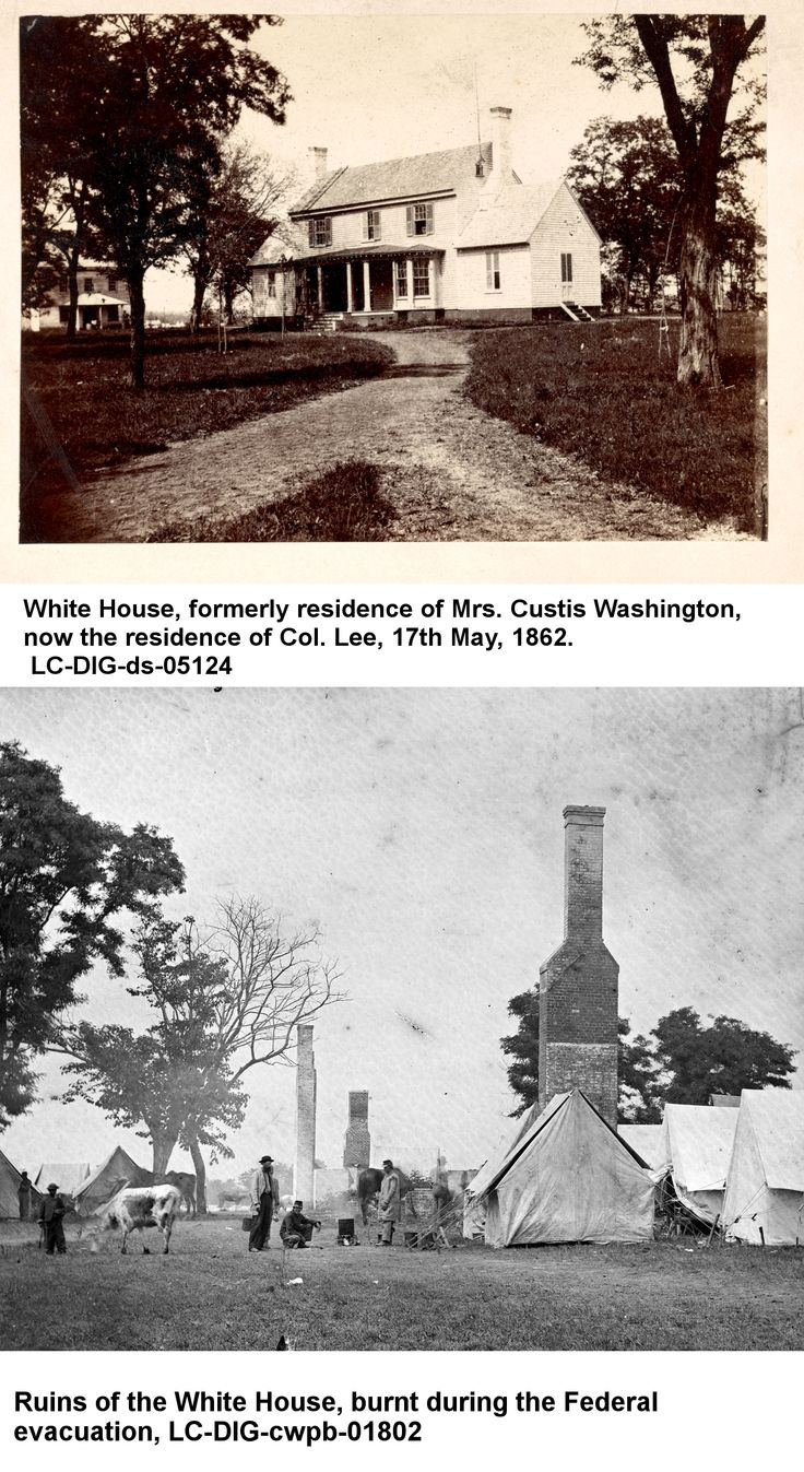 During the Civil War Martha Washington's home, White House on the Pamunkey, became headquarters of General George B. McClellan. During the Peninsula Campaign the Army of the Potomac had an immense supply line stretching from White House Landing on the Pamunkey River to the front lines nearly a dozen miles to the west. Before and after photos from The Library of Congress show the result of the Federal occupation. http://asoldiersfriend.com/products.htm
