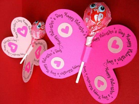 basteln valentinstag kinder rosa schmetterlinge lutscher karten