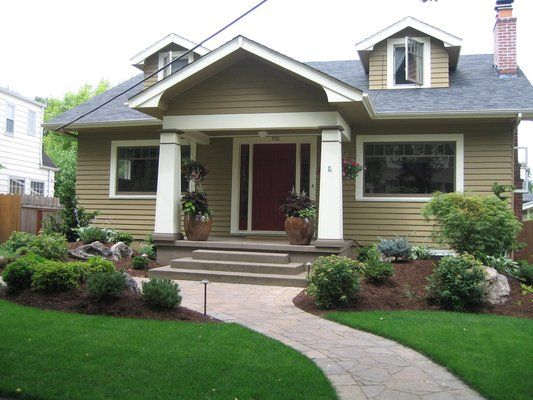 Front yard cottage walkways google search landscaping for Craftsman landscape design ideas