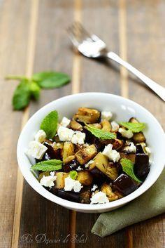 Salade d'aubergines rôties et feta - Roasted eggplants salad with feta and mint