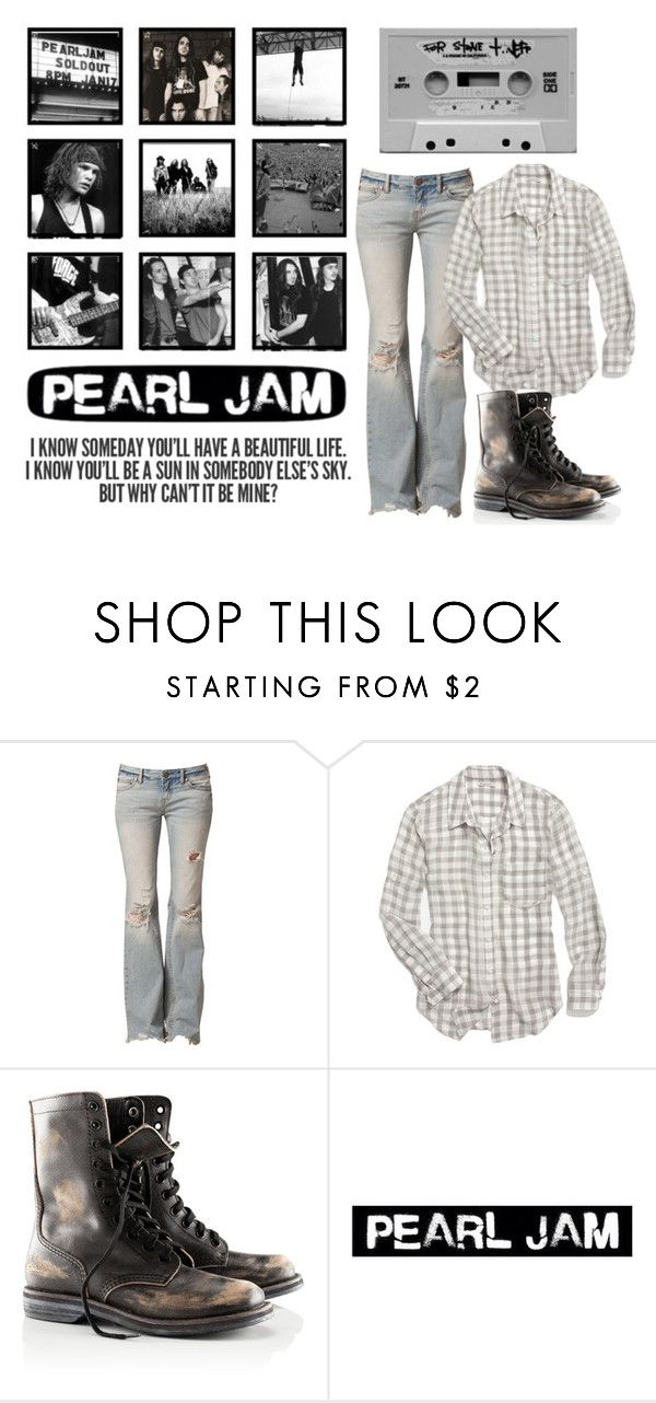 """""""fuckyeahpearljam"""" by given-to-fly ❤ liked on Polyvore featuring Free People, Madewell, H&M, Gossard, distressed jeans, light wash jeans, check shirts and lace-up boots"""