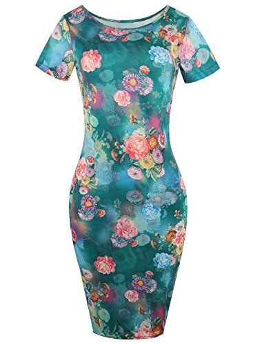 New Trending Formal Dresses: Womens Floral Print Knees Length Bodycon Midi Dress Slim Fit Pencil Dress 223(M, Green). Women's Floral Print Knees Length Bodycon Midi Dress Slim Fit Pencil Dress 223(M, Green)  Special Offer: $16.99  300 Reviews classy sassy flower stretchy bodycon pencil dress 100% brand new dresses .elegent and comdy dress,very soft and comfortable to wear. suitable for many...