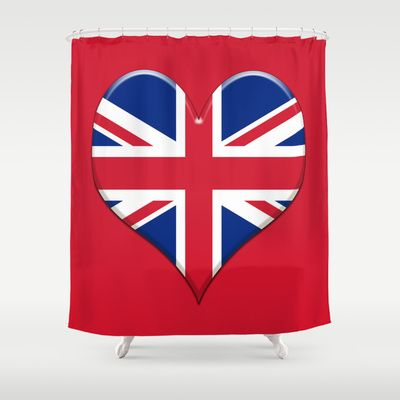 UK Union Jack flag set in a Love heart. Shower Curtain by Bruce Stanfield - $68.00
