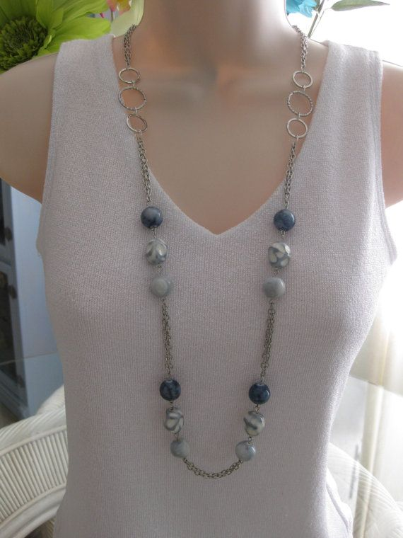 Long Blue Beaded Necklace Blue Jean Necklace by RalstonOriginals, $18.00