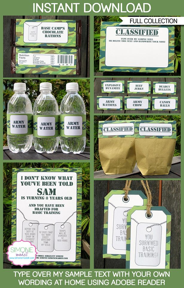 Camo Army Party Printables, Invitations, Decorations | Birthday Party | Camouflage | Boot Camp | Editable DIY Theme Templates | INSTANT…