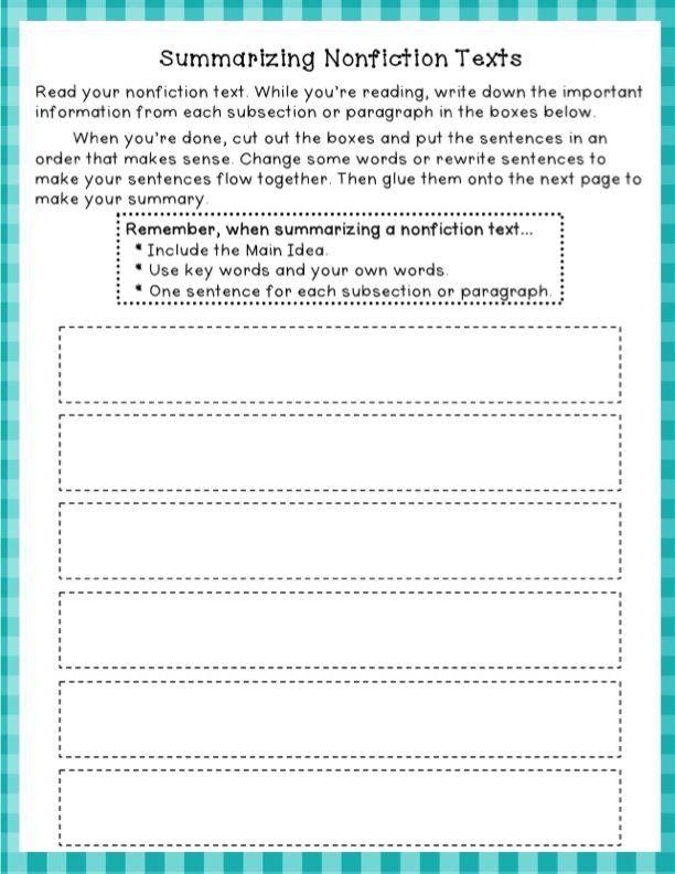 Summarizing Worksheet 4th Grade Summarizing Nonfiction Freebie Summarizing Nonfiction Reading Classroom Citing Text Evidence
