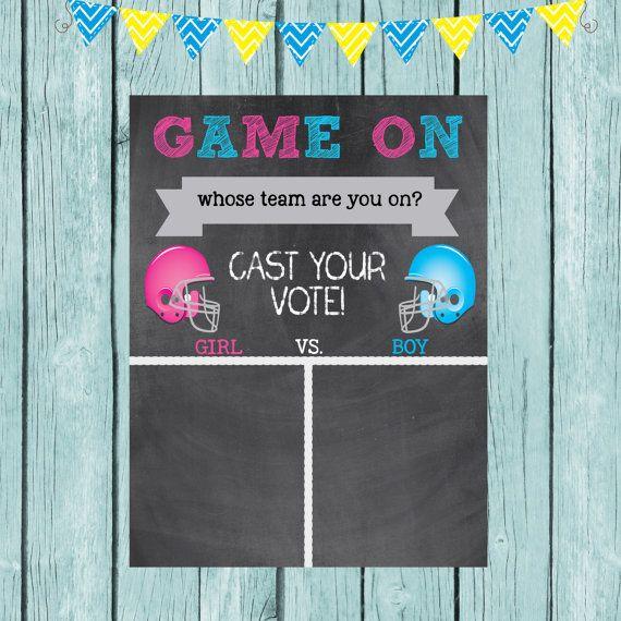Gender Reveal Game On Boy Vs Girl Vote by ModernStarPrint on Etsy