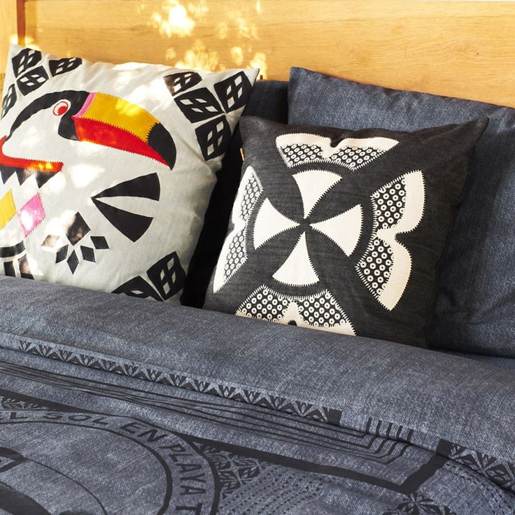 Denim cushion with toucan embroidery and applique, for your bedroom