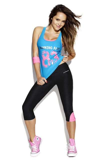 Fun gym wear by Running Bare to keep you motivated. Modelled by Rebecca Breeds. #gym #fitness