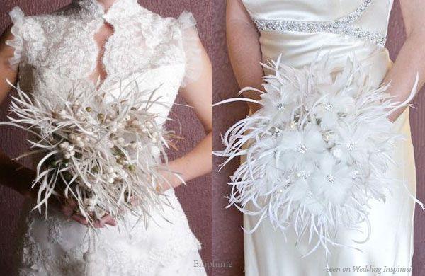 Feather Bouquets - Wedding Flower Alternative: White Flowers, Bridal Bouquets, Feathers Bouquets, Wedding Flowers, White Bouquets, White Wedding Bouquets, Winter Wedding Bouquets, Bouquets Wedding, Bouquets Flowers