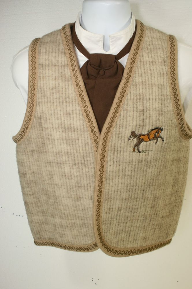 Bolero Cowboy Vest Wool Blend Steampunk Mens 40S SASS Embroidered Bronco 2895…
