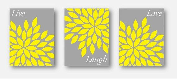 Live Laugh Love - set of THREE 8x10 art prints, gray and yellow bedroom decor, baby girl wall art, girls room décor