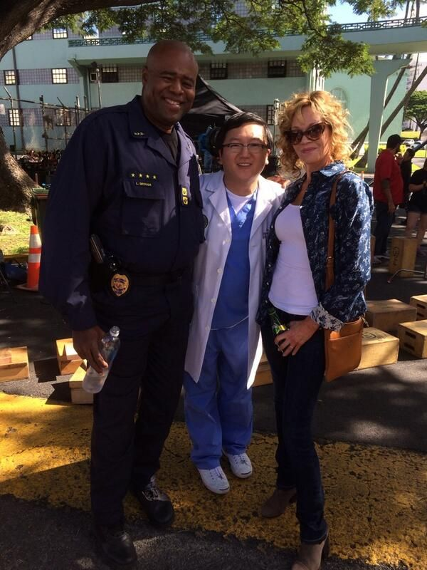 Compliments BTS from Masi Oka - with Chi and Melanie Griffith