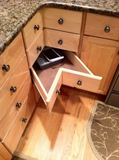 Corner Cabinet Drawers Retrofit