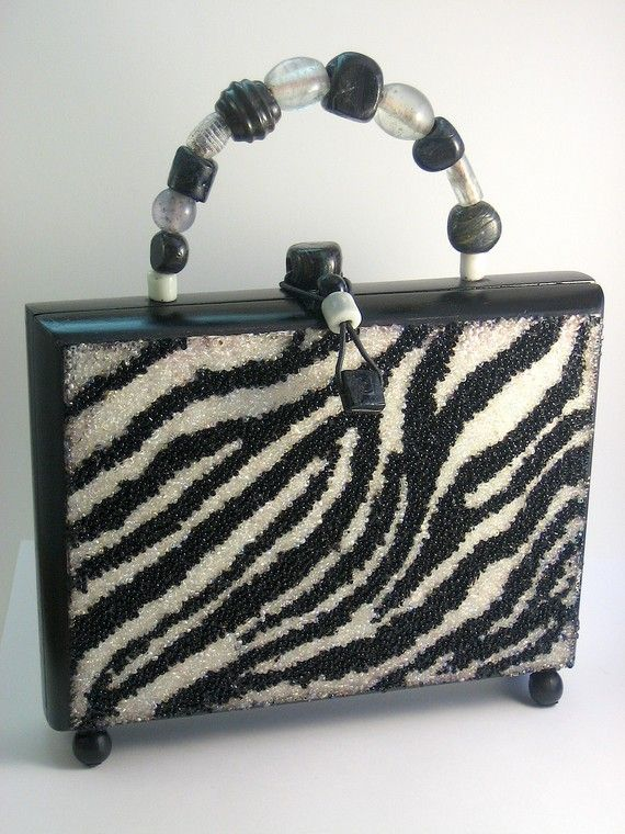 Cigar Box Purse - Black and White Beaded Zebra Pattern - Zebralicious